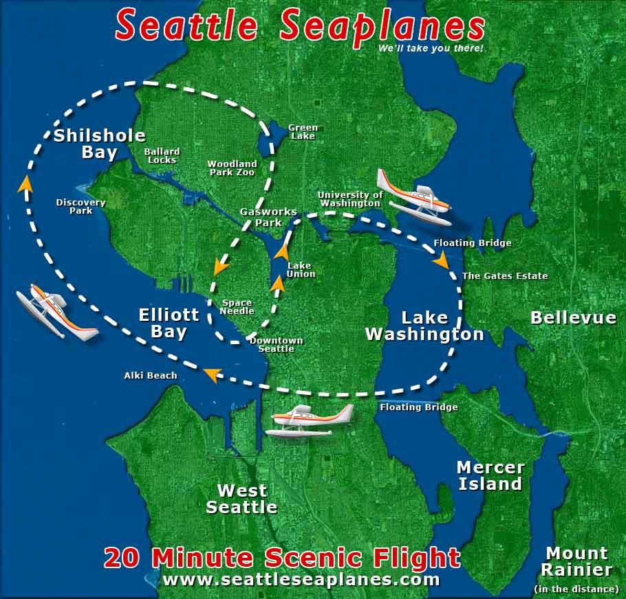 Seattle Washington Map Tourist.Scenic Flights Seattle Seaplanes Lake Union Seattle Washington